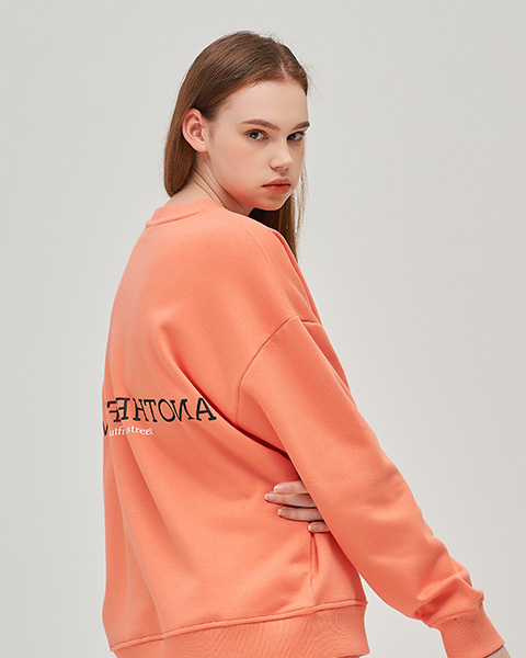 CLOUDY COLOR CREWNECK (LIVING CORAL)