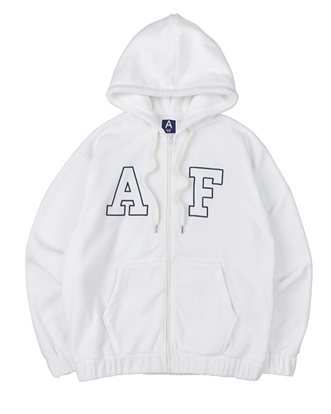 BIG LOGO FLEECE HOOD ZIP-UP (IVORY)