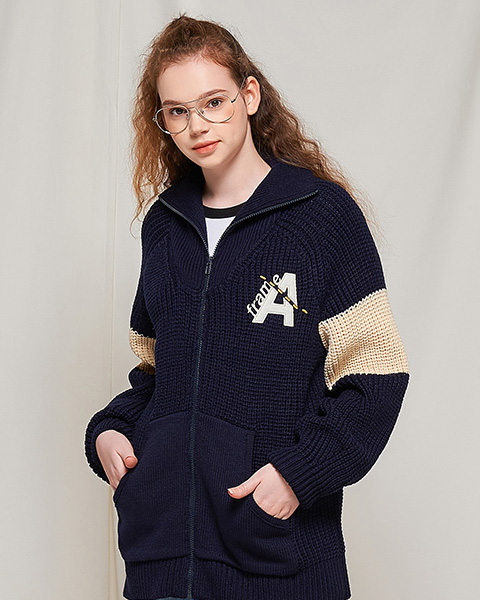 DOTTED LINE HEAVY KNIT ZIP-UP (NAVY)
