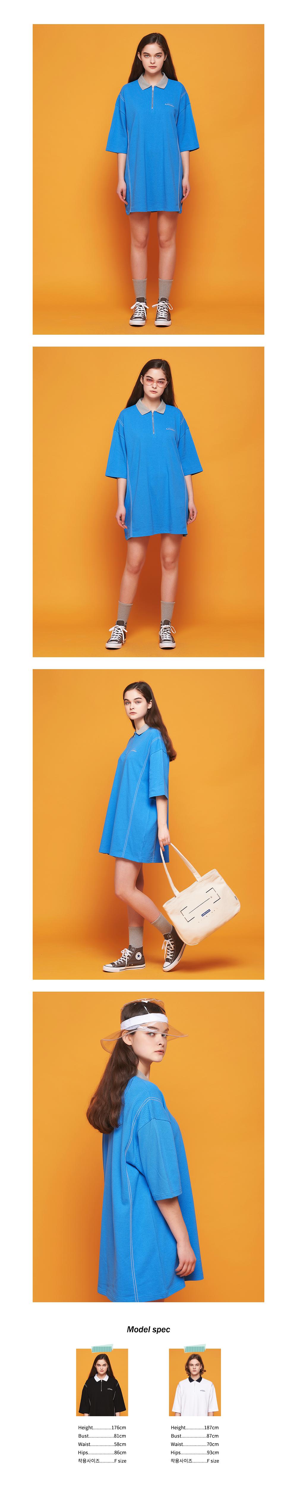 어나더프레임 AF STITCH LONG PK T-SHIRT (BLUE)