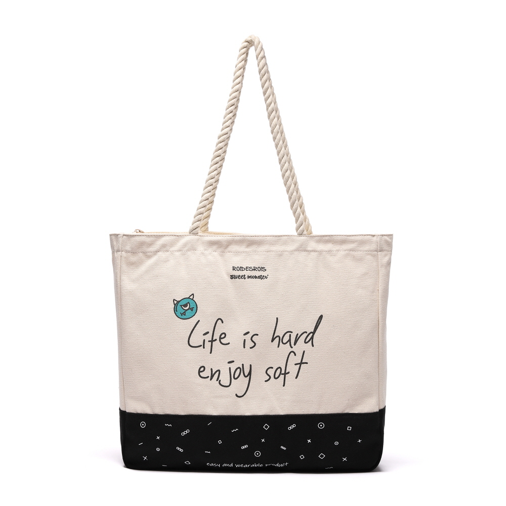 [#아울렛 한정_특가상품]SWEET SLOGAN ROPE TOTE BAG (IVORY)