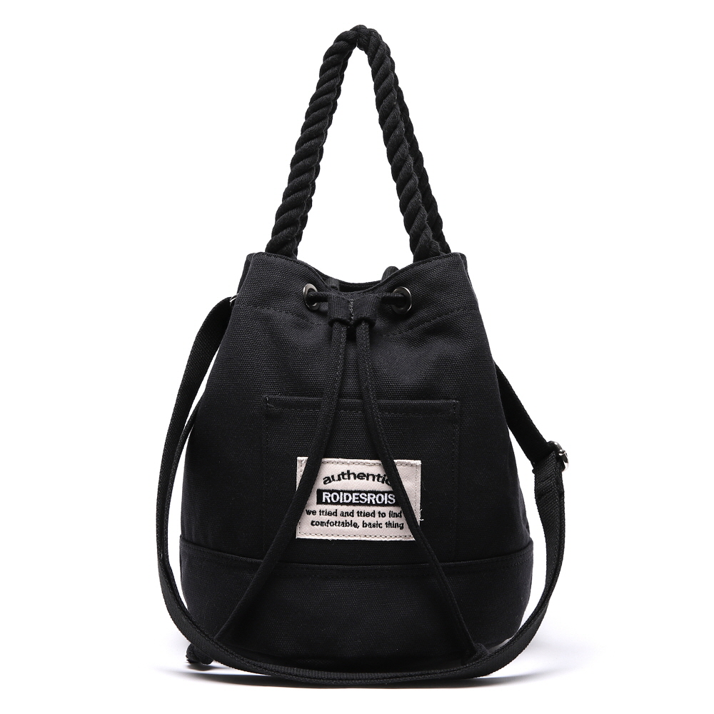 [#아울렛 한정_특가상품]ROPE COTTON BUCKET CROSS BAG (BLACK)